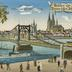 Köln Panorama mit Hängebrücke. Köllen eijn Ikroijn/ Boven allen Steden schoijn.
